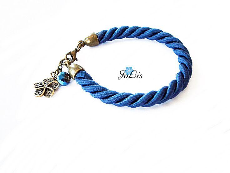 Navy Rope Bracelet, Twisted Rope Bracelet Navy Cord Bracelet Trendy Gift Birthday Gift September. Sapphire Birthstone Birthday gift Sapphire by MadeByJoLis on Etsy