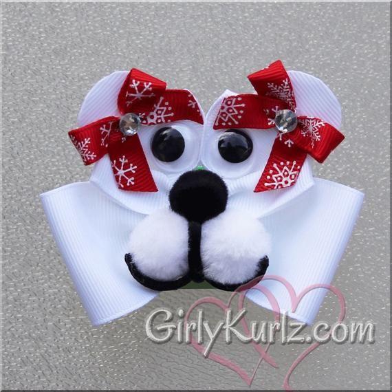 Polar Bear hair bow with googly eyes