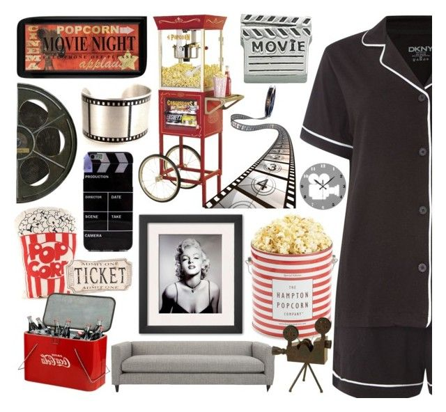 #14  Movie night by alzbeta-zlochova on Polyvore featuring polyvore, fashion, style, DKNY, Bling Jewelry, CB2, Nostalgia Electrics, Spicher and Company, The Hampton Popcorn Company and Dot & Bo
