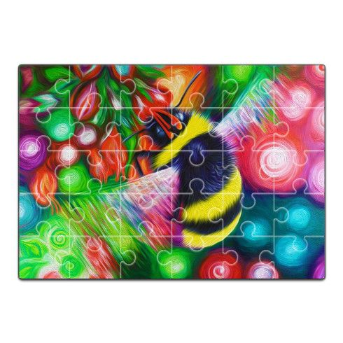 Bumble Bee and Flowers Jigsaw by simon-knott-fine-artist at zippi.co.uk
