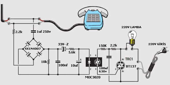 phone rings lamp circuit moc3020 telefon alarm lamba yakma moc3020 triyak bt137