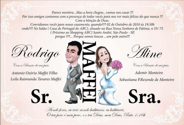 Convite de Casamento com Caricatura dos Noivos