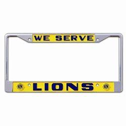 Lions logo We Serve license plate frame, $8.30.