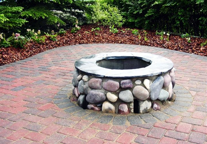 27 best fire pit images on pinterest backyard patio for Backyard brick fire pit