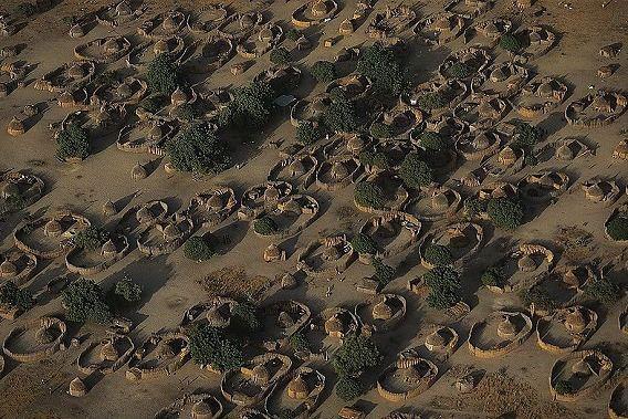 チャド湖の近くの集落