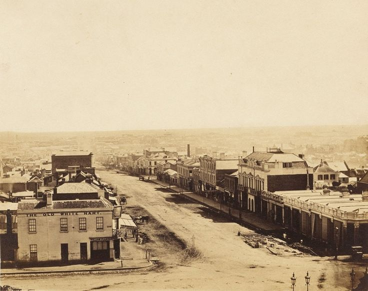 The view of Bourke St from Spring St, taken in 1858 : melbourne