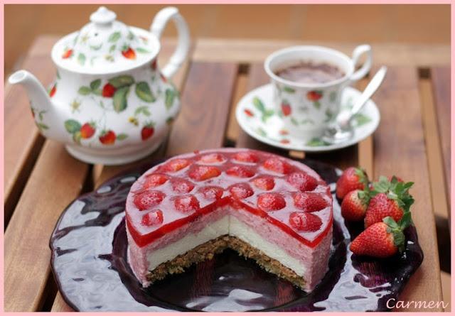 Tarta de fresa y chocolate blanco.: Pagina Principal, De Fresa, Cakes, Recipes, De Chocolates, El Chocolates, Chocolates Blanco, Pie, Foam
