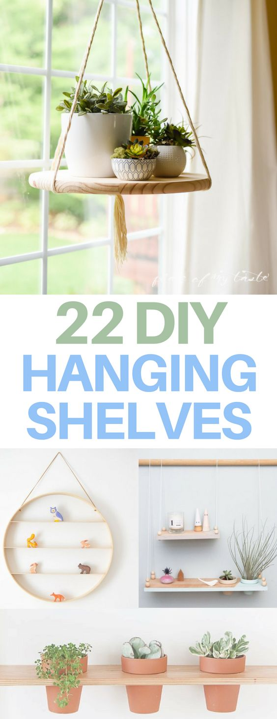 The BEST DIY hanging shelves - amazing bedroom, nursery, or living room ideas! I love these DIY decor projects. My favorite is the one that repurposes embroidery hoops to make the round hanging shelf! #DiyHomeDécor,