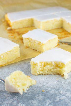 Einfacher Zitronen-Blechkuchen mit Zuckerguss {vegan}