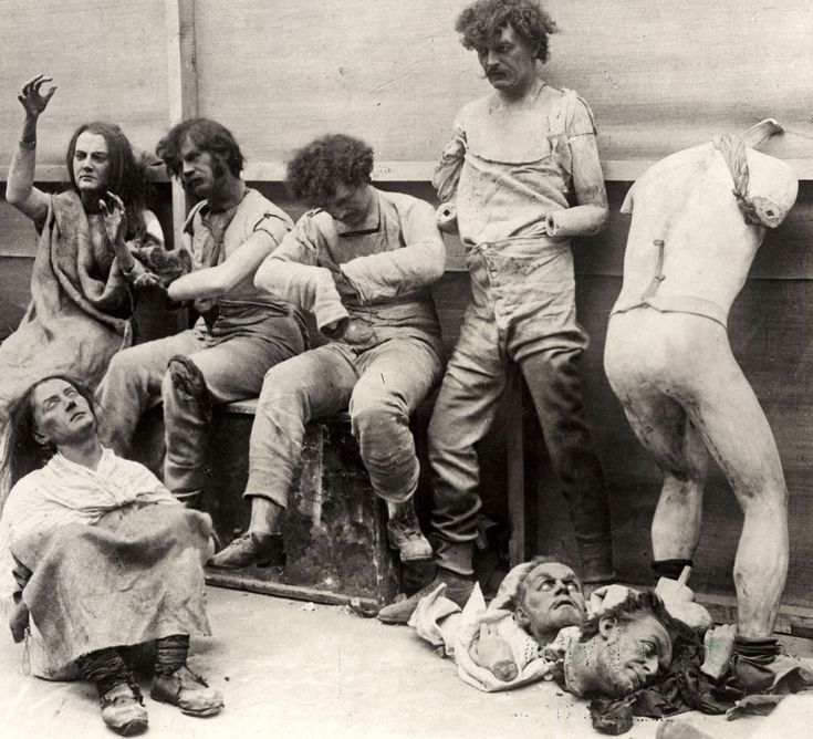Damaged and melted mannequins after a 1930 fire at Madame Toussaud's museum