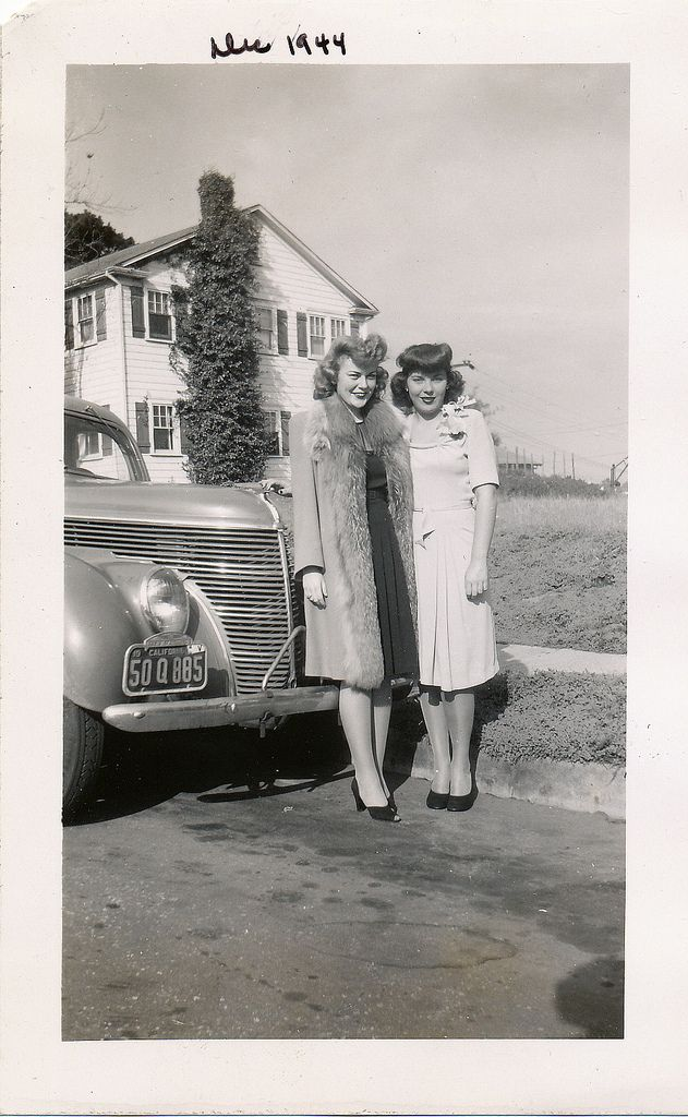 1944 vintage fashion style found photo street girls by car coat dress hair hat shoes 40s