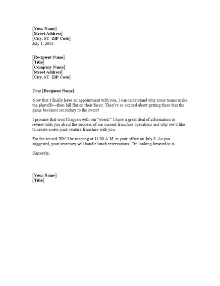 Free Meeting Confirmation Letter Template