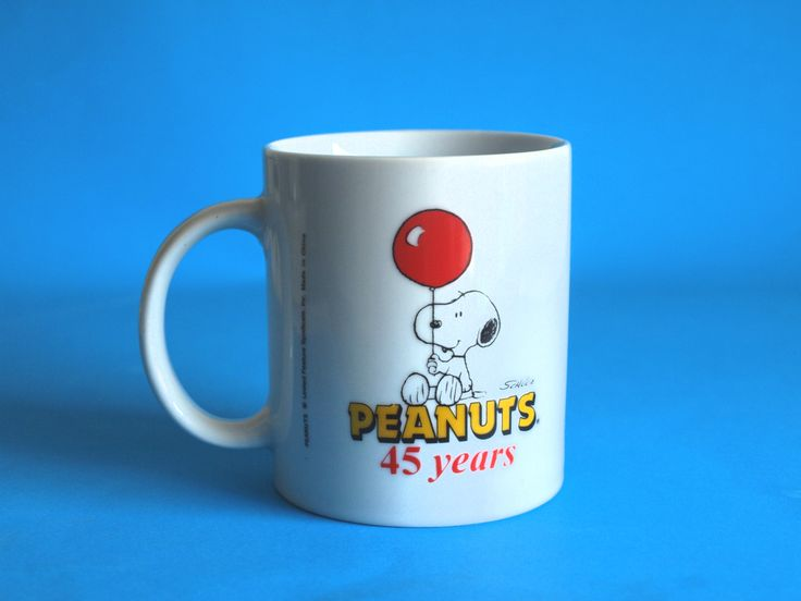 Peanuts 45 Years Hungry Jacks Collectible Mug - Vintage Retro Snoopy Friendship Mug - United Feature Syndicate by FunkyKoala on Etsy