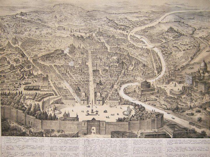 Pianta di #Roma - Anno 1860 ca.