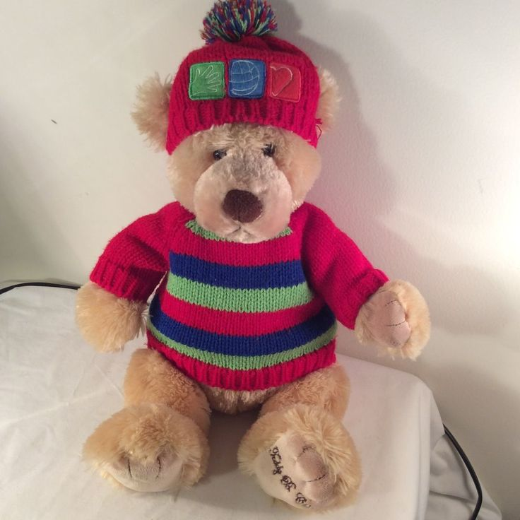"""Gund for Office Depot Plush Teddy B Caring Bear Holiday Sweater 18"""" Brown #GUND #AllOccasion"""