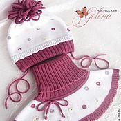 """Комплект (шапка, шарф, варежки) """"Гламурный горошек-2"""" - в горошек,шапочка для девочки"""