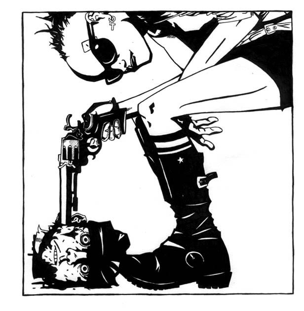 Tank Girl - I like this a lot as it shows her intuition to not care about killing someone guilty. :) Her snazziness showing she stays fabulous at all times!