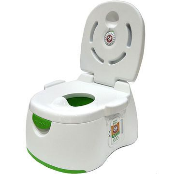 Whether used as a potty chair, removable trainer seat, or sturdy step stool, this compact potty eliminates odors with an integrated, deodorizing disk.                 Potty Praise:  Kids will love the built-in wipes dispenser that makes them feel grown-up.  Parents will love the disposable, deodorizing Arm & Hammer disk that stops the stink (especially in poorly-ventilated bathrooms), the gender-neutral color scheme, and the built-in flushable wipes that help develop proper hygiene habits…