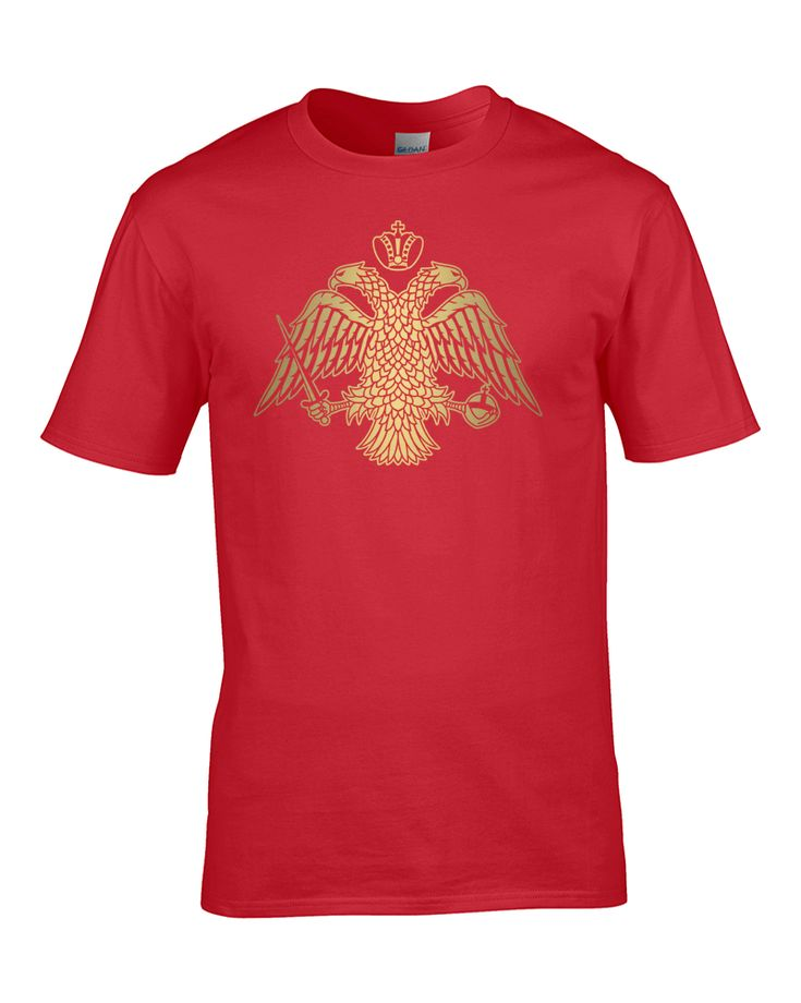 awesome BYZANTINE DOUBLE HEADED EAGLE EMBLEM- metallic gold print Boy's T-Shirt from Fat Cuckoo …