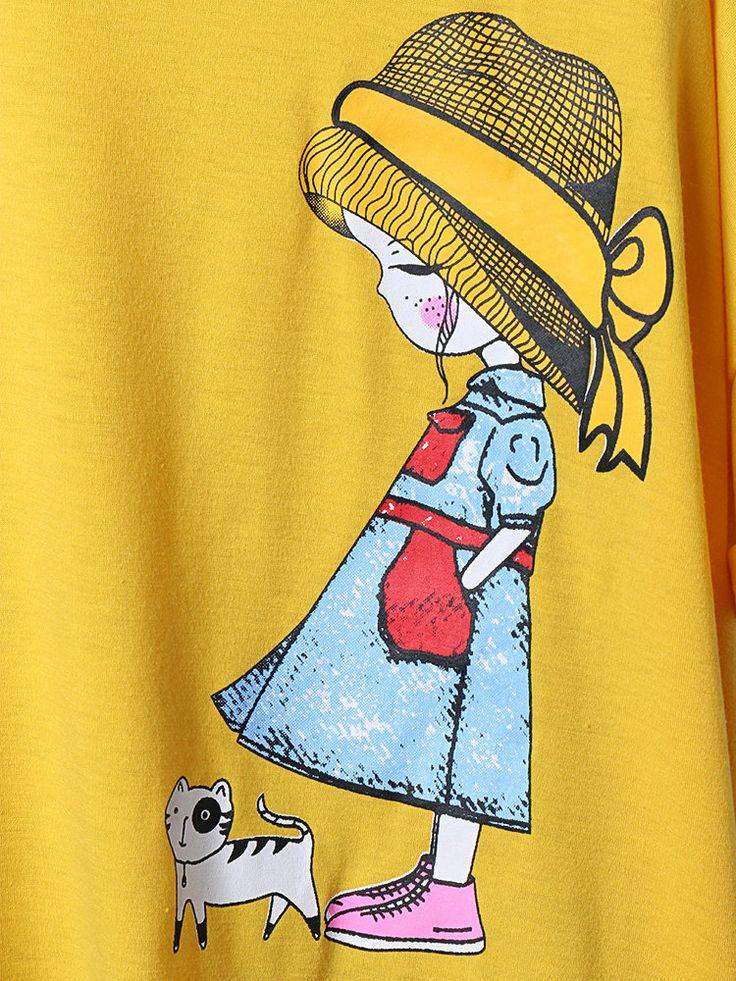 Cartoon Print Patch Short Sleeve Vintage Plus Size Blouse 2