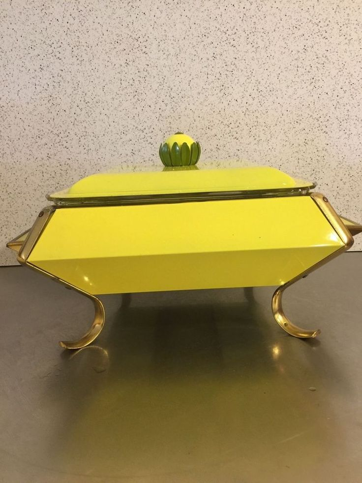 Mid Century Chafing Dish Atomic Style Yellow Metal Stand Candle Fire King Glass #FireKing #MidCentury