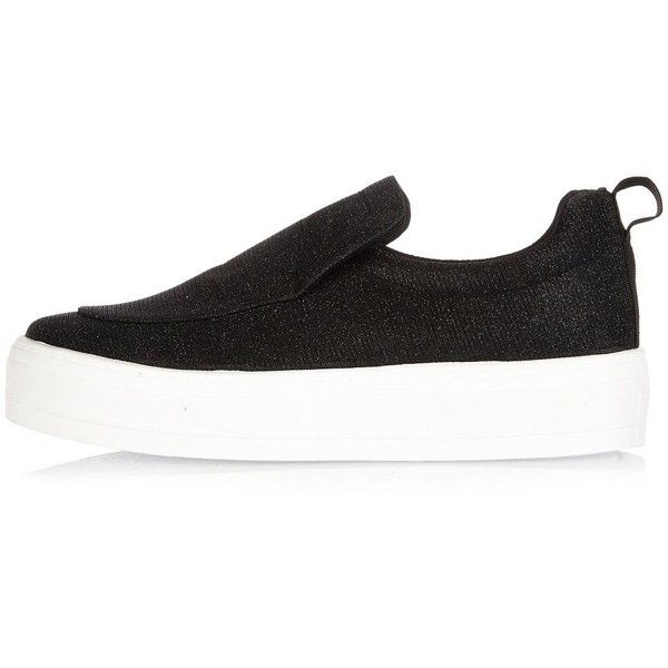 River Island Black glitter slip on trainers ($56) ❤ liked on Polyvore featuring shoes, sneakers, river island shoes and river island