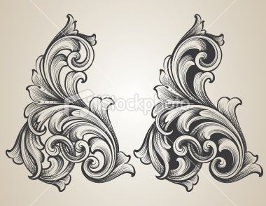 Intertwining Engraved Scrolls Royalty Free Stock Vector Art Illustration
