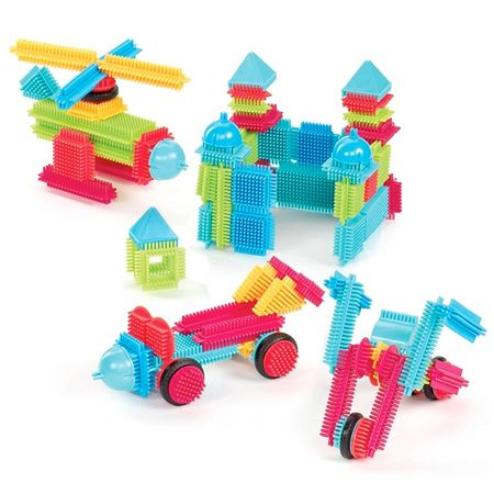 Each Bristle Block has hundreds of bristles, all densely packed. Push two blocks together and they connect so easily even the youngest builders find creative success. As children grow in logic skills, they'll work on their own creations!