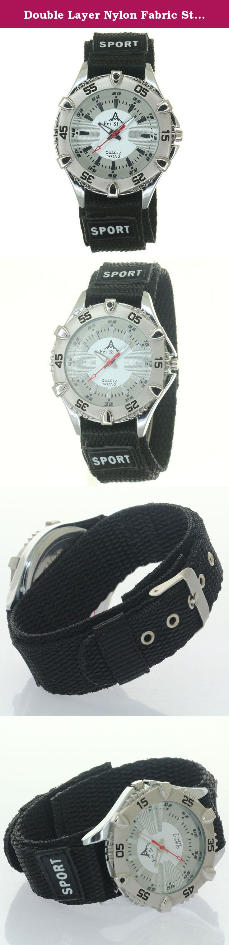 Double Layer Nylon Fabric Strap Velcro Fastener Polished Buckle Sport Quartz Unisex Bezel Wristwatch. Double Layer Nylon Watch Strap Velcro Fastener Polished Buckle Functional uni-direction bezel crown Decorate Numeral Dial Japan Precision Movement Inside. Quartz Wristwatch. Short straps not fit strong big wrists. Men Women Boys Girls Kids Students all Fits.