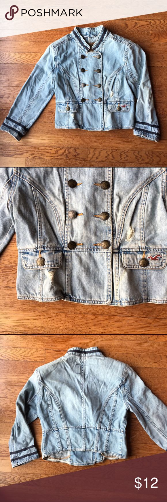 Hollister distressed jean jacket Cute hollister jacket that's distressed on the front pockets. The shoulders have pads. The width of the shoulders are 15inches and the length is about 17 inches! Hollister Jackets & Coats Jean Jackets
