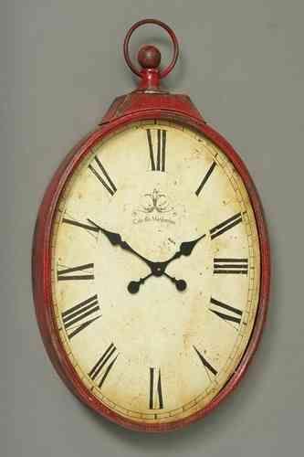 Wand-Uhr H95cm XXL rot