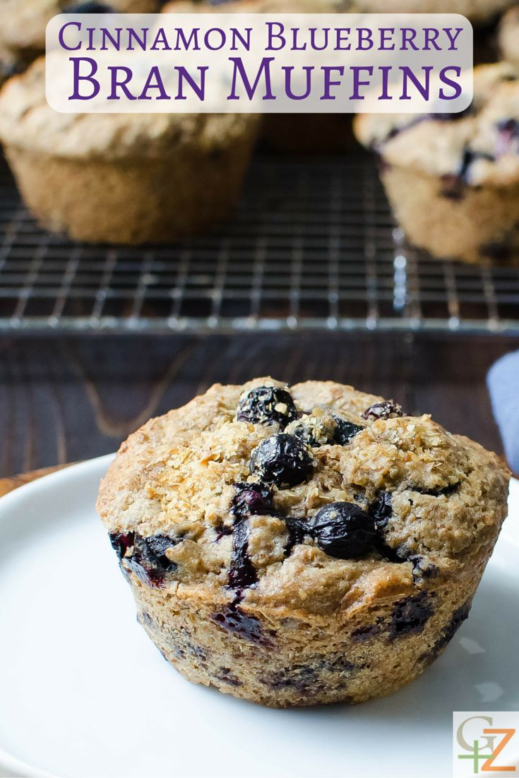 Cinnamon Blueberry Bran Muffins | Garlic + Zest