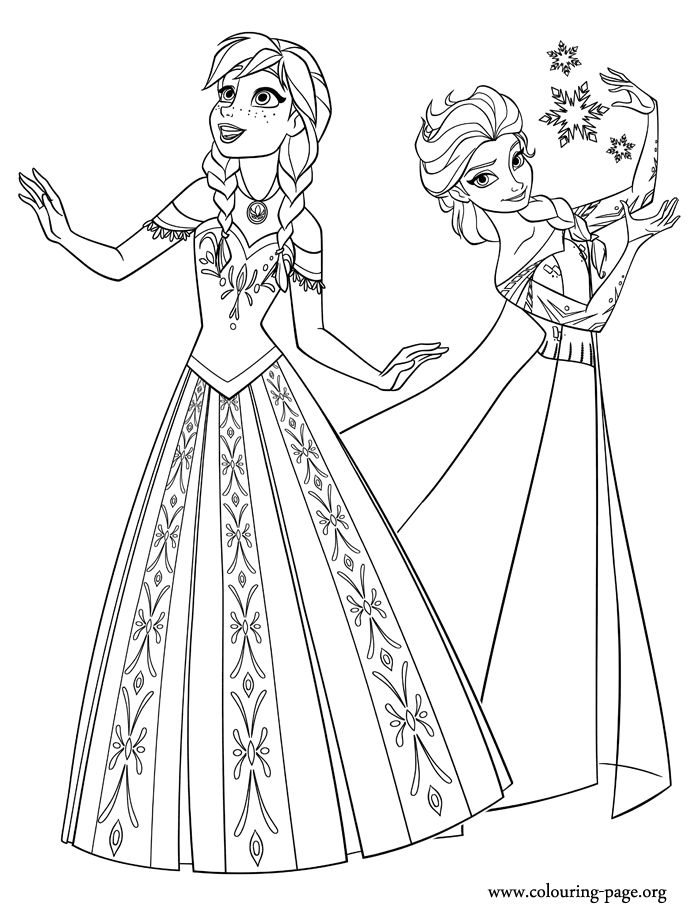 Two beautiful princesses of Arendelle: Elsa and Anna. Disney Frozen coloring page.