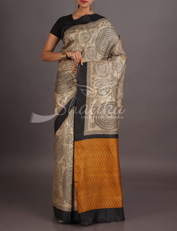 Rekha Beige And Black Spiral Bind Of Tribal Life Yellow Border Madhubani Saree