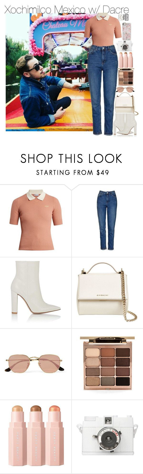 """Xochimilco Mexico w/ Dacre"" by larissaglz ❤ liked on Polyvore featuring RED Valentino, Topshop, Gianvito Rossi, Givenchy, Ray-Ban, Stila, Casetify, dayout, mexico and billy"