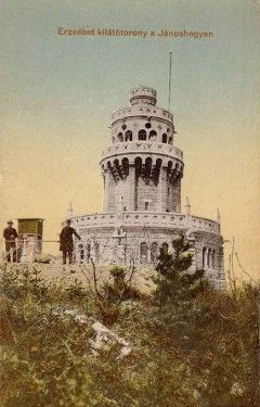 La torre panoramica Erzsebet su una cartolina di 1910
