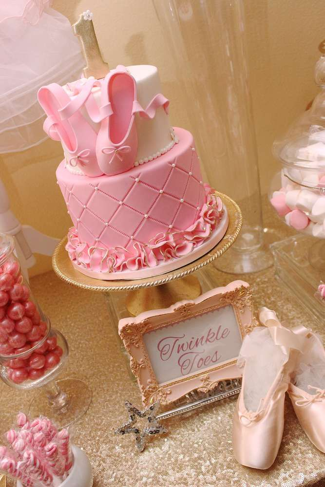 Wow! What a fabulous pink ballerina birthday cake! See more party ideas at CatchMyParty.com