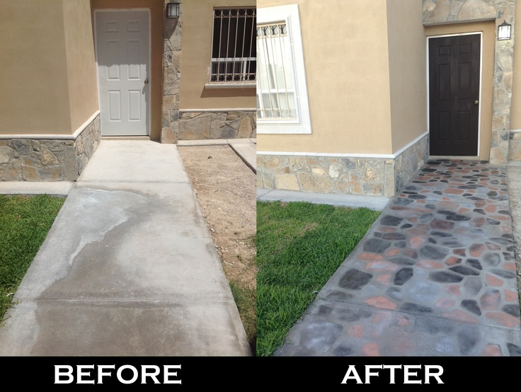 front yard spray painted cement walkway idea taken from