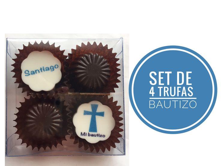 Un lindo recuerdo para los invitados de tu bautizo que además van a disfrutar muchísimo!   Set de 4 trufas $56 c/u 15% descuento pago en efectivo   #recuerditos #bautizo #chocolate #chocolateimpreso