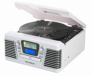 Ricatech RMC100 Retro Platenspeler, 5 in 1 Music Center W. De Autorama is een vintage icoon die je doet herinneren aan de schone, gestroomlijnde styling van de klassieke auto's uit de jaren 50. Deze schoonheid brengt je terug naar de dagen van drive-ins en diners. Deze platenspeler beschikt over een AM / FM-radio, een 3-snelheden platenspeler. Ook heeft deze de mogenlijkheid om direct muziek op te nemen vanaf de platenspeler naar USB of SD