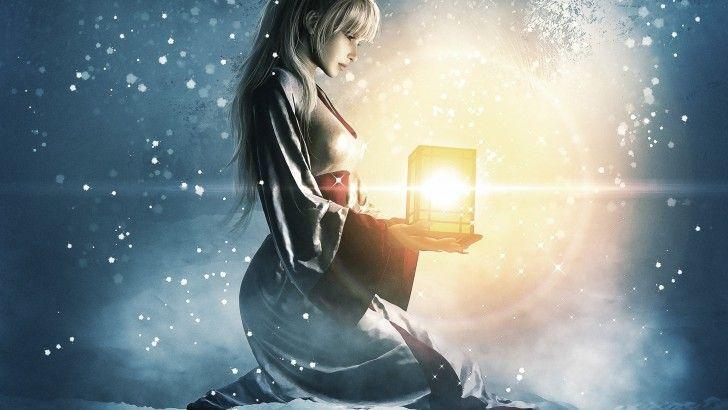 Girl With Lantern In The Winter - Fondos de pantalla HD. Fondos de escritorio. Protectores de pantalla. Wallpapers HD. Fondos de pantalla.