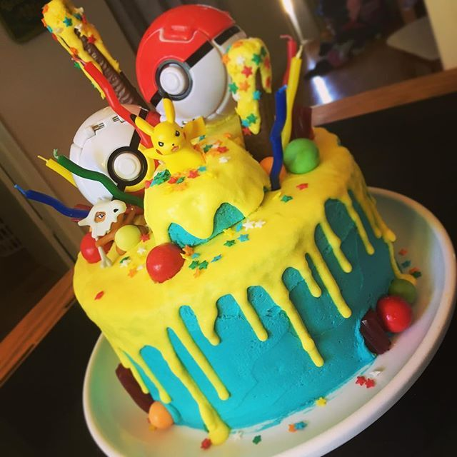 My take on two current trends... Pokémon drip cake for a 10 year old boy