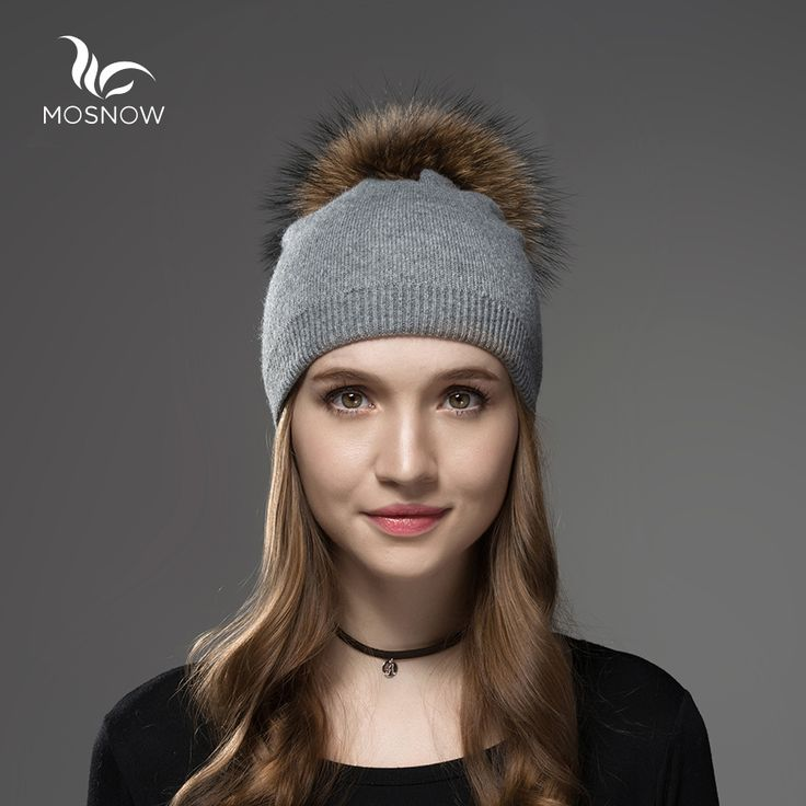 Mosnow Raccoon Wool Fox Fur Pom Poms Hat Female  Women Warm Knitted Casual High Quality Vogue Winter Hats Skullies Beanies
