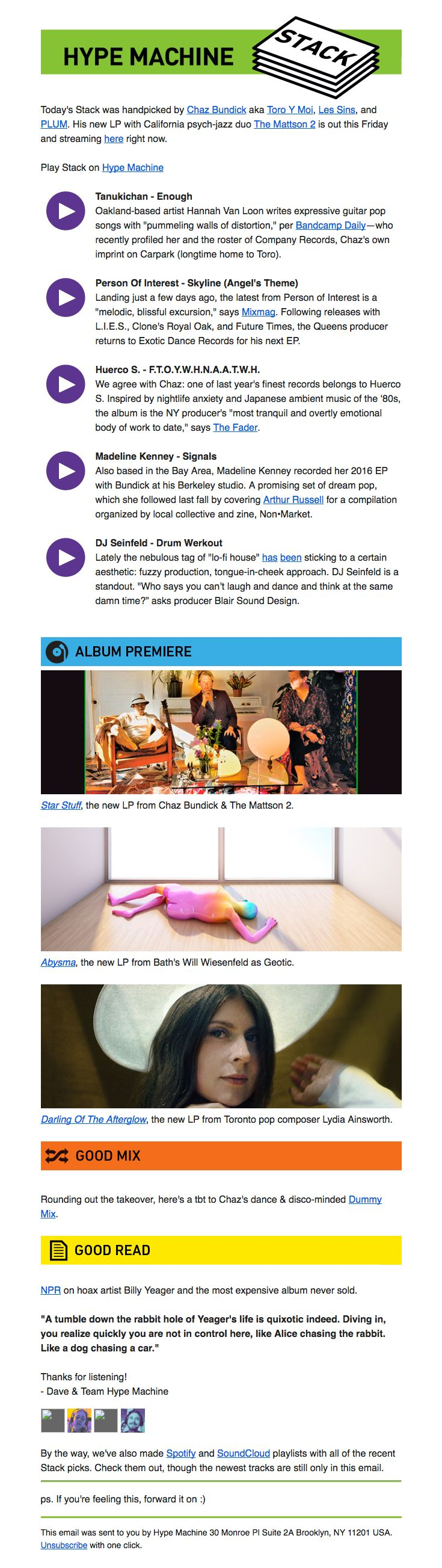 Hype Machine sent this email with the subject line: Stack № 134 with Toro y Moi 😎 - Read about this email and find more newsletter emails at ReallyGoodEmails.com #music #newsletter