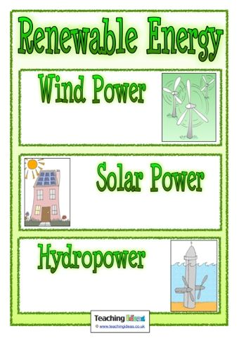 A printable poster, showing different types of renewable energy, that you can add to your classroom display boards during your environment topic.