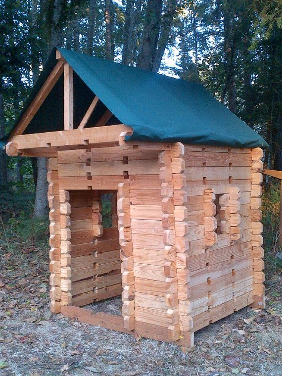 Children 39 s log cabin play house awesome wooden lincoln for Kids cabin playhouse