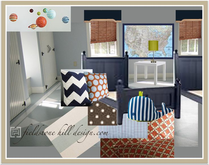 Love the chevron pillow and navy bed.