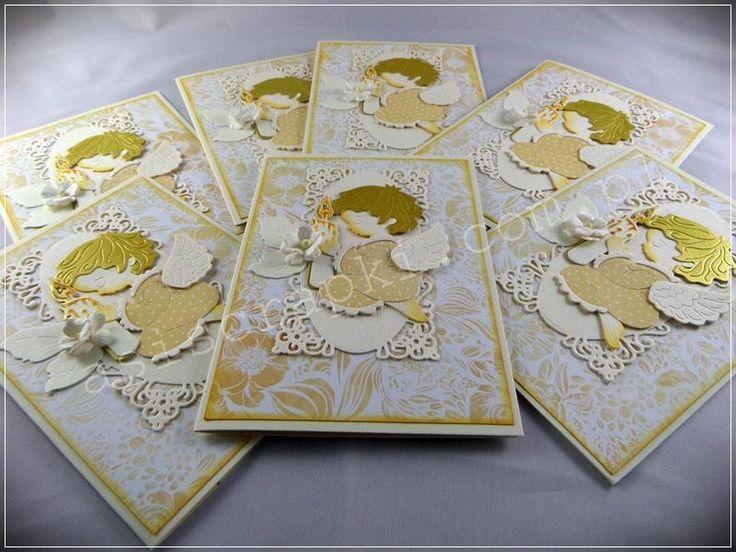 Zaproszenia na chrzest w odcieniach ecru, złota i żółci z aniołkiem i nieodzowną Galerią Papieru i Argo Galeria Papieru – moje papierowe pewniki. Zaproszenia na chrzest Podobne