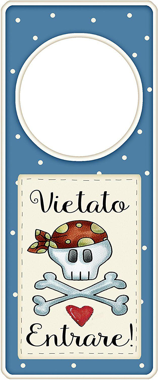 """appendi porta in legno """"Vietato entrare"""" idea regalo, artigianato italiano, made in Italy, con frase scritta, spiritosa, fuori stanza, appendi porta, fuori porta, tavola country: Amazon.it: Casa e cucina"""