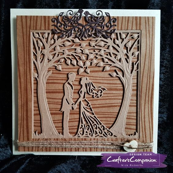 7 x 7 Card made using Sara Signature Rustic Wedding Collection – Just Married die. Designed by Nick Roberts. #crafterscompanion #ccgemini